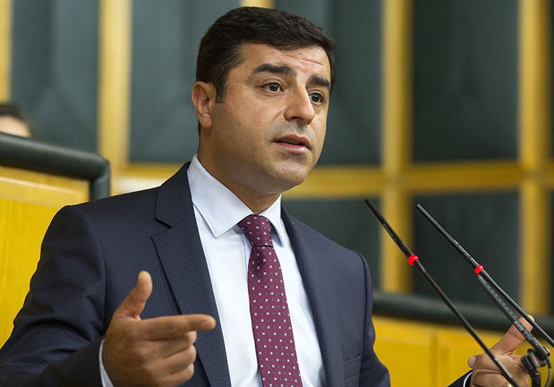 HDP co-chairman Selahattin Demirtau015f at his party's parliamentary group meeting (AA Photo)