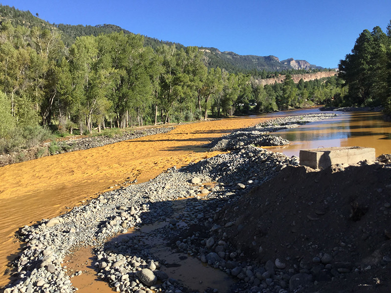 This photo provided by La Plata County in Colorado on August 10, 2015 shows the orange colored Animas River near Durango, Colorado shortly after a toxic waste spill (EPA photo)