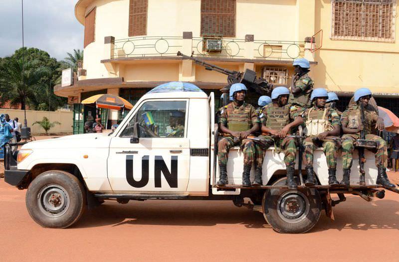 A file photo taken on Dec. 9, 2014 shows U.N. peacekeeping soldiers from Rwanda patrolling in Bangui, Central African Republic