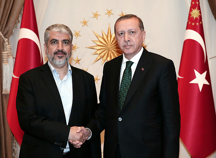Hamas Political Bureau Chief Khaled Meshaal (left) with President Recep Tayyip Erdou011fan (right)