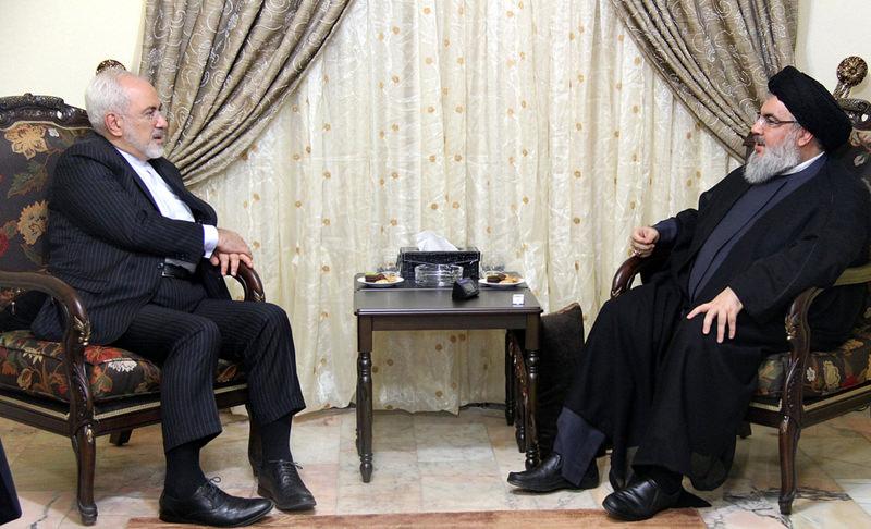 Hezbollah leader Hassan Nasrallah (R) meets Iranian FM Javad Zarif in Beirut on Aug. 12. Photo on the right shows Iranian ambassador to Ankara speaking with Turkish FM u00c7avuu015fou011flu.