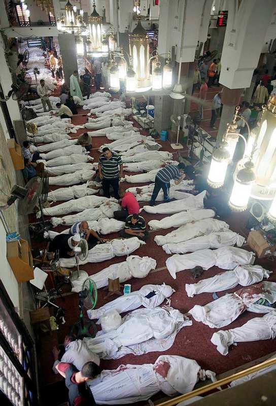 The corpses of slain Egyptians were put in Adawiyya Mosque near Rabaa Square. The mosque was used as both a hospital and morgue during the bloody raid.