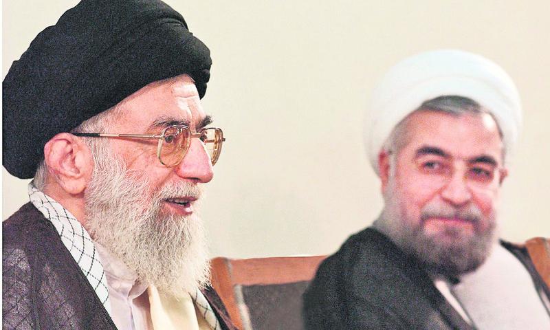 Iranian Supreme Leader Ayatollah Ali Khamenei (L) and President Hassan Rouhani (R)