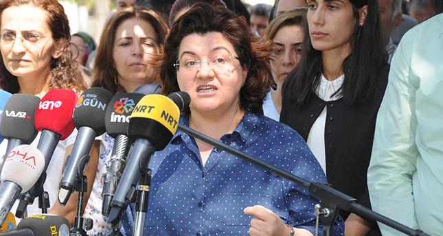 Emine Ayna, the co-chairman of Democratic Regions Party (DBP) gives a speech in Diyarbaku0131r, southeastern Turkey. (DHA Photo)