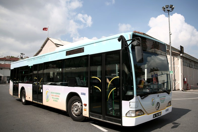 The bus is fitted with 15 solar panels on its roof and is the first member of u0130ETT's solar-powered bus fleet, which will expand in the near future.