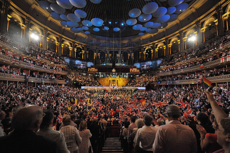 A scene showing revellers waving flags during the Last Night of the Proms at the Royal Albert Hall in west London.