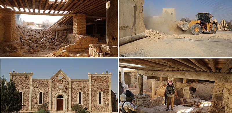 Photos of ISIS destroying Saint Elian Monastery in central Syria. (AP Photos)