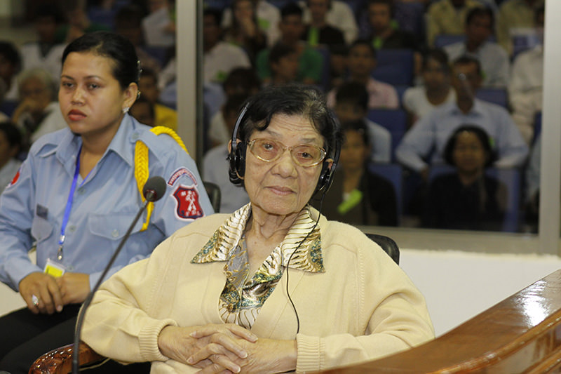 Ieng Thirith, a Khmer Rouge leader who was the highest-ranking woman in the genocidal regime that oversaw the death of nearly 2 million Cambodians in the late 1970s, has died on Aug. 22, 2015. (AP Photo)