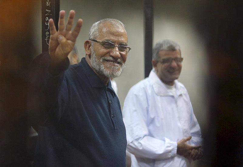 Muslim Brotherhood's Mohamed Badie in Egyptian court (Reuters Photo)