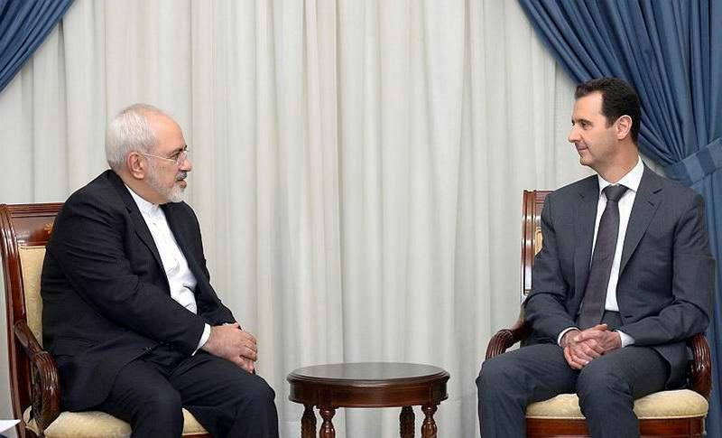 Iran renewed its support for Assad in the meeting between Assad (R) and Iranian Foreign Minister Javad Zarif (L) in Damascus two weeks ago.