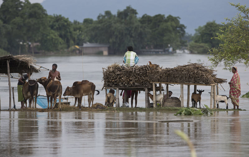State authorities say that monsoon flooding has nearly 200,000 people to leave their homes. (AP Photo)