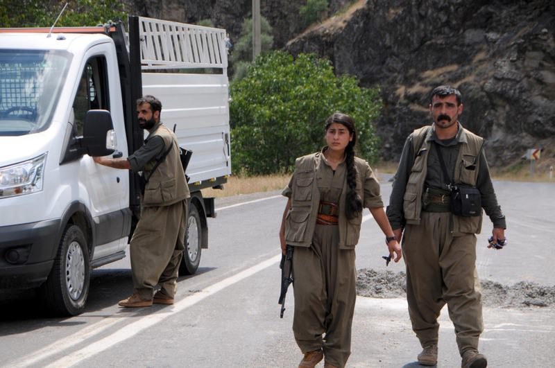 A group of PKK terrorists conduct an ID check in the eastern province of Tunceli in August.