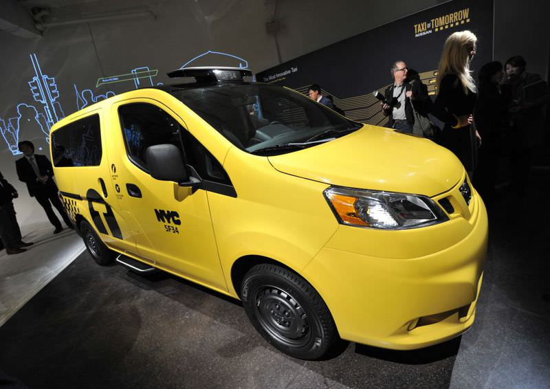 A far cry from the checkered cab that has been immortalized as part of the city's hectic image, the Nissan NV200 boasts cushy seats, adjustable air-conditioning in the back and a panoramic glass roof.