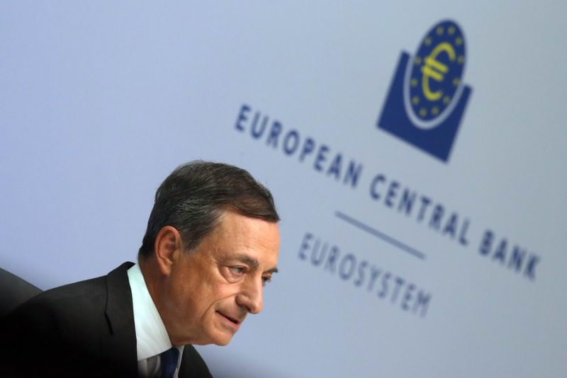 The president of the European Central Bank (ECB), Mario Draghi speaks during an ECB press conference in Frankfurt. The ECB governing council has decided to keep the eurozone base rate at the record low of 0.05 percent.