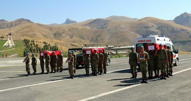 3 Turkish soldiers were killed on August 14, 2015 in PKK's 5th most volent attack to Hakkari's Dağlıca town since 2007. (DHA Photo)