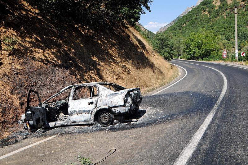 DHA Photo (Kadri Özkara's car after the PKK attack)