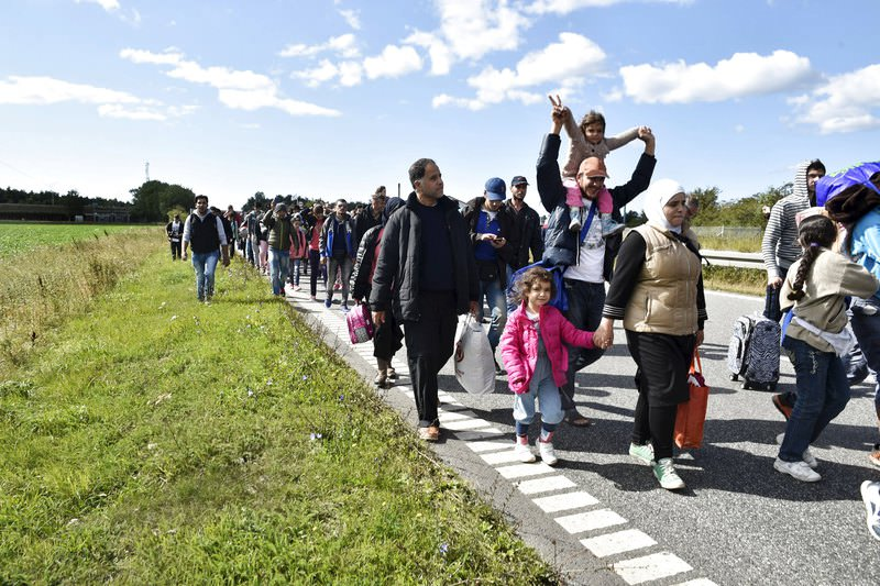 A large group of migrants, mainly from Syria, walk towards the north on a highway in Denmark September 7, 2015. (REUTERS Photo)