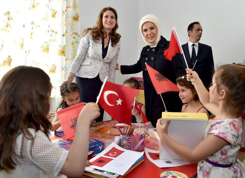 A pre-school was opened in Albania last May attanded by Emine Erdou011fan and Odeta Nishani, the first ladies of Turkey and Albania.