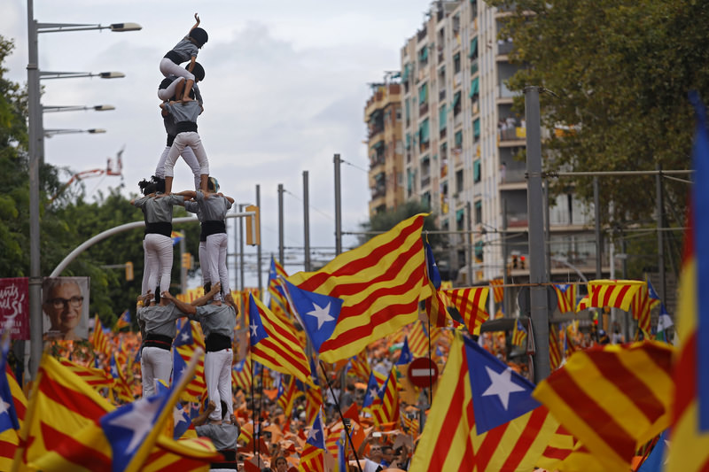 Advocates of independence for Spain's northeastern region of Catalonia on Friday launched their campaign to try to elect a majority of secessionists in regional parliamentary elections on Sept. 27. (AP Photo)