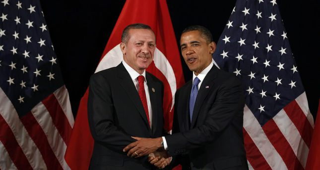 U.S. President Barack Obama shakes hands with then prime minister and current President Recep Tayyip Erdoğan after a bilateral meeting in Seoul on March 25, 2012.