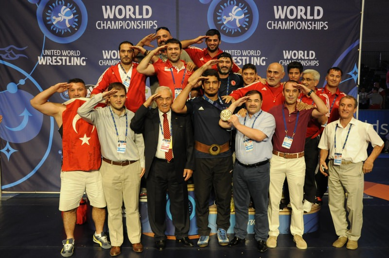 Akgu00fcl and Turkish team made a soldier salute after the medal ceremony, commemorating the Turkish security forces.