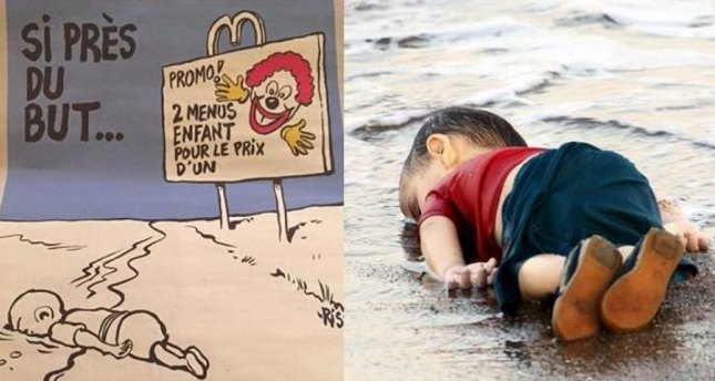 Charlie Hebdo mocks the drowned Syrian toddler Aylan Kurdi