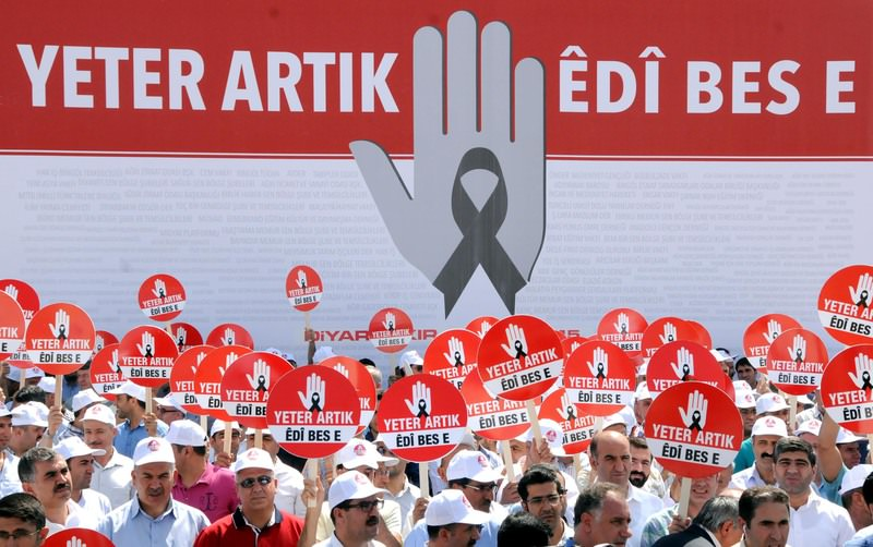 Representatives of 565 nongovernmental organizations gathered in Diyarbaku0131r to put an end to terrorism and say ,enough already, to the violence on September 15, 2015. (DHA Photo)