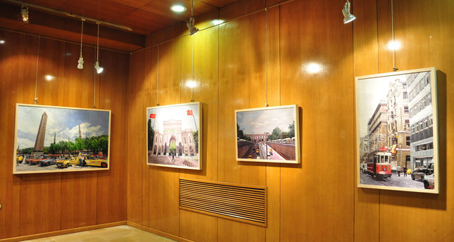 The exhibition features Yoo's 22 works of art, which are the result of four months of hard work. The artist came to Istanbul last year and photographed several  landmarks of the historical city.