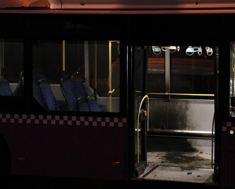 Three masked people attacked a bus loaded with passengers en route from u015eiu015fli to Yenikapu0131 in Istanbul, September 16, 2015. (DHA Photo)