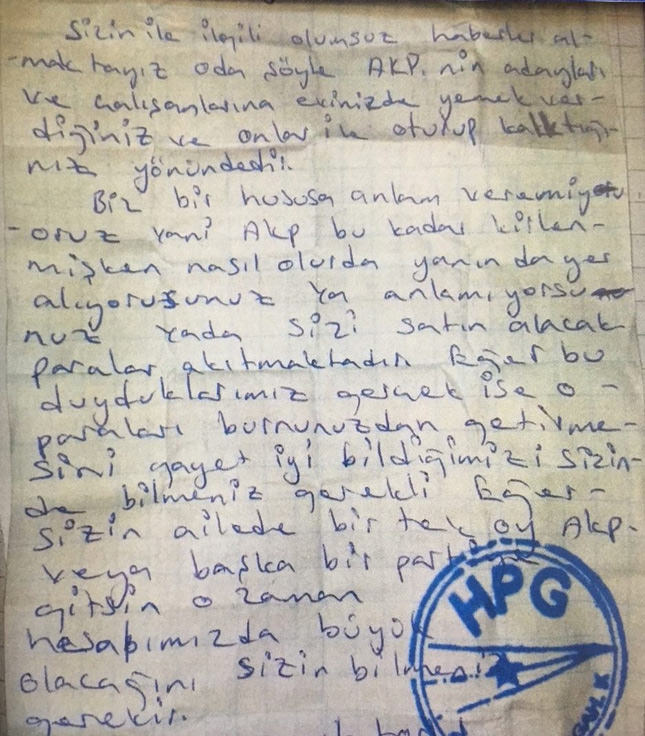 The letter the PKK terrorist organization sent out on Friday to the public of the Erzurum province located in northeastern Turkey. | AA Photo
