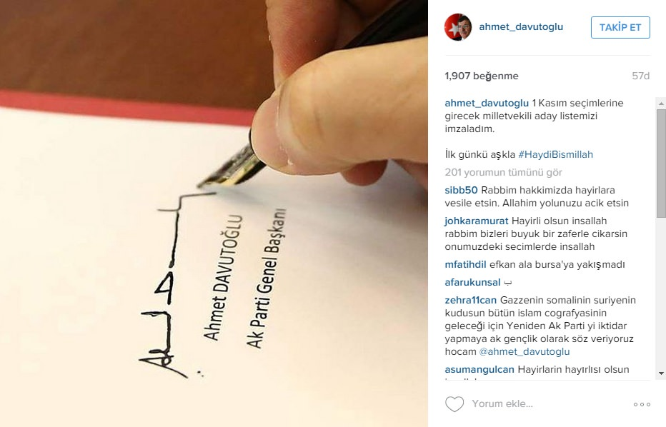 Prime Minister and AK Party Chairman Ahmet Davuotğlu posted his first photo on his official Instagram account while signing the candidate list