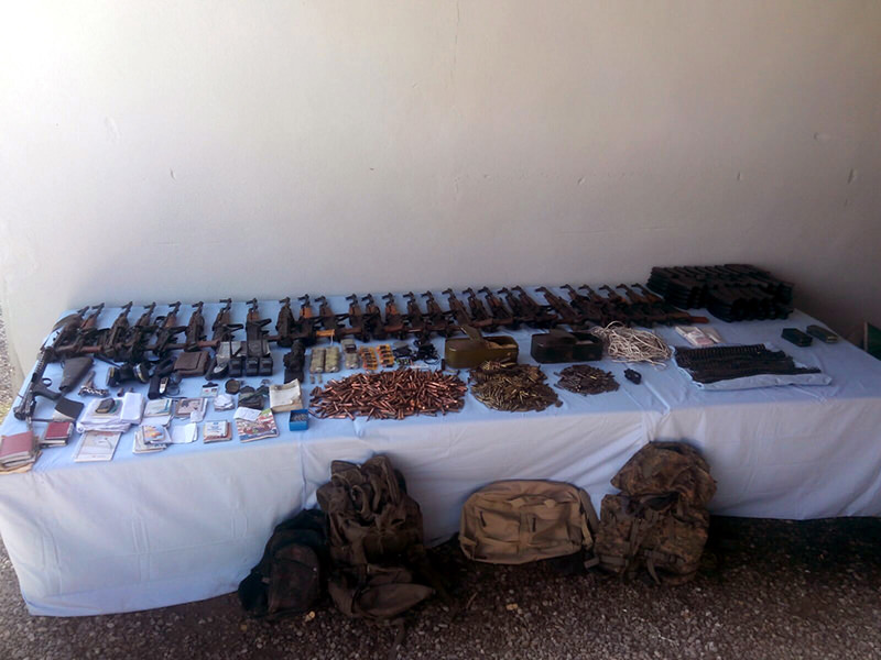 Ammunition belonging to PKK terrorists confiscated by Turkish security forces in Muu015f province (AA Photo)