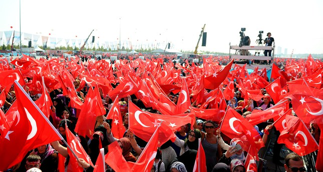 Over a million people participated in the anti-terror rally at the Yenikapı Square in Istanbul on Sunday (AA Photo)