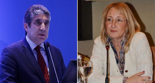 New Development Minister Cu00fcneyd Du00fczyol (L) and new EU Affairs Minister and Chief Negotiator Prof. Dr. Beril Dedeou011flu