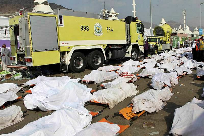 Bodies of some of the pilgrims killed in a stampede are lined up in the Mina neighborhood of Mecca, Saudi Arabia.