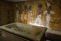 A file picture taken on November 4, 2007 shows the sarcophagus of King Tutankhamun, known as the 'Child Pharaoh' in its burial chamber. (AFP Photo)