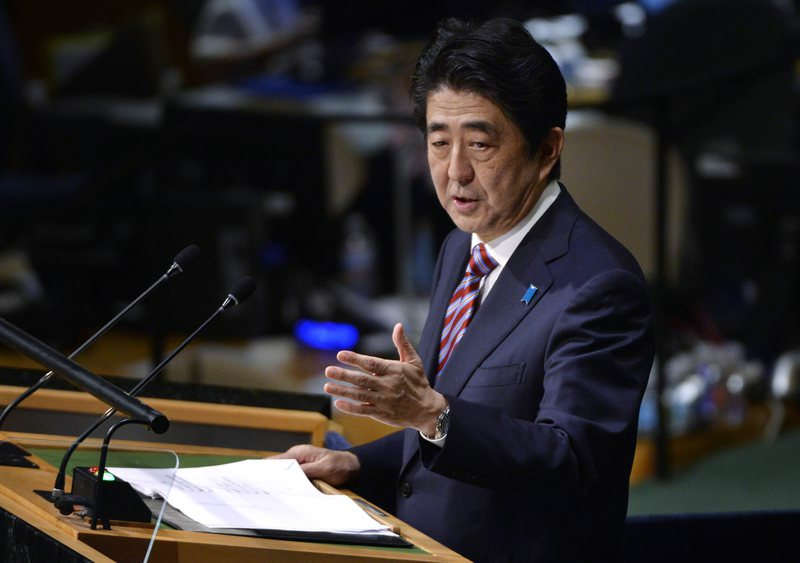 Shinzo Abe, the Prime Minister of Japan, delivers his address during the 70th session General Debate of the U.N.G.A., 29 September 2015. (EPA Photo)