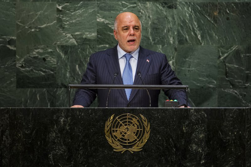 Iraqi PM Haider Al Abadi addresses attendees during the 70th session of the United Nations General Assembly in New York, September 30, 2015. (REUTERS Photo)