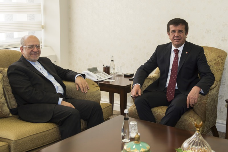 The Iranian Minister of Industry, Mining and Trade, Mohammad Reza Nematzadeh (L) met with Interim Economy Minister Nihat Zeybekci (R) on Thursday in Ankara.