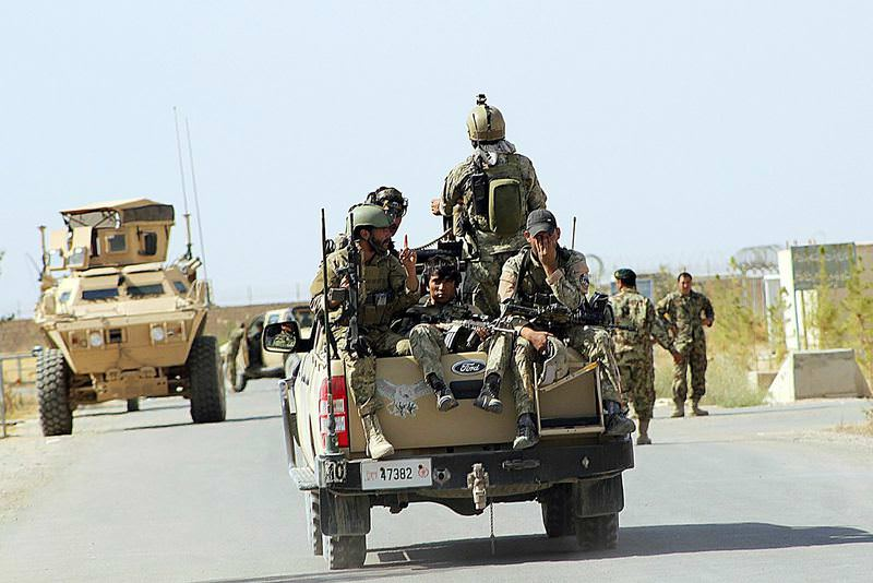 Afghan National Army soldiers conducting an operation, outside of Kunduz.