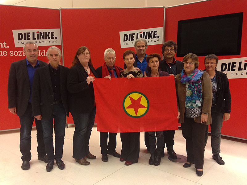 Several German parliamentarians show their support for Nicole Gohlke, who was stripped off her immunity after raising a PKK flag at a rally in Munich. (DHA Photo)