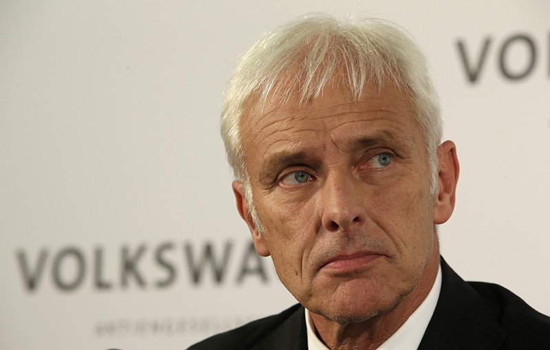 Newly appointed Volkswagen CEO Matthias Mueller listens during a press statement after a meeting of Volkswagen's supervisory board in Wolfsburg, Germany, Friday, Sept. 25, 2015 (AP Photo)