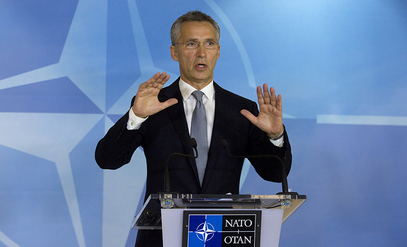 NATO Secretary General Jens Stoltenberg speaks during a media conference at NATO headquarters in Brussels on Thursday, Oct. 8, 2015 (AP Photo)