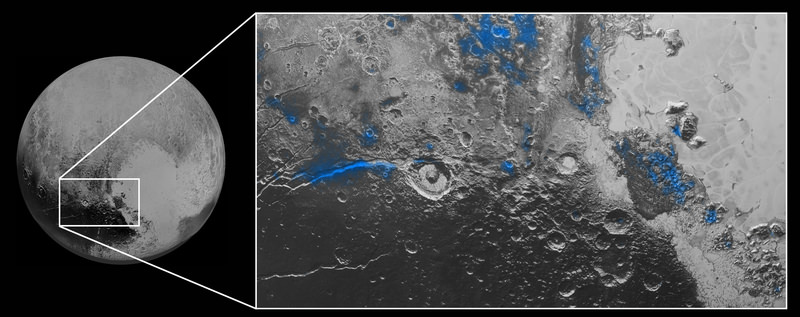 This image released by NASA on Thursday, Oct. 8, 2015, shows regions with exposed water ice highlighted in blue in this composite image taken with the New Horizons spacecraft. (AP Photo)