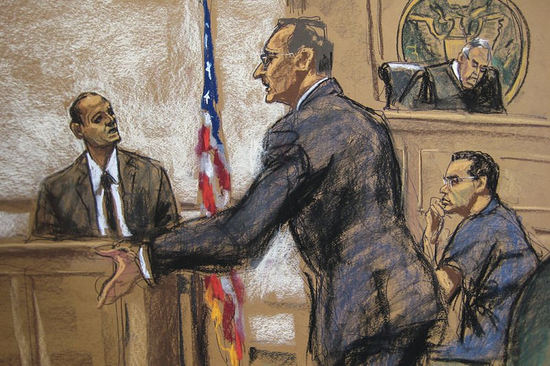 Judge H. Pitman (R), attorney B. Bieber (C), witness C. Bates (L) and defendant Francis Lorenzo (R lower), Deputy UN Ambassador for the Dominican Rep. are shown in this courtroom sketch at his bail hearing Oct 9, 2015. (REUTERS Photo)