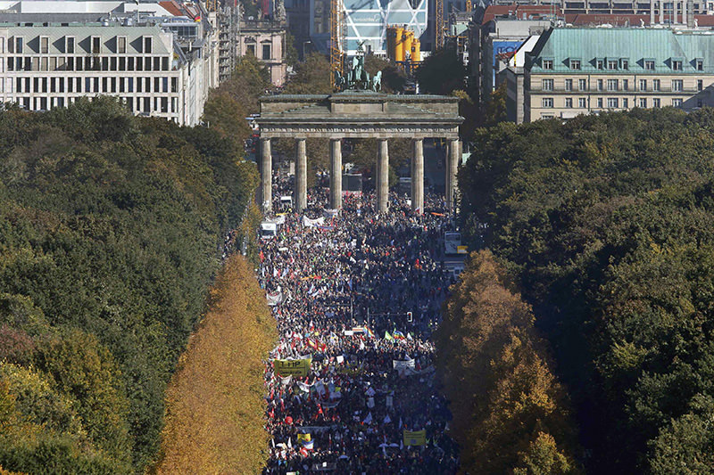 Consumer rights activists take part in a march to protest against the Transatlantic Trade and Investment Partnership (TTIP), mass husbandry and genetic engineering, in Berlin, Germany (Reuters Photo)