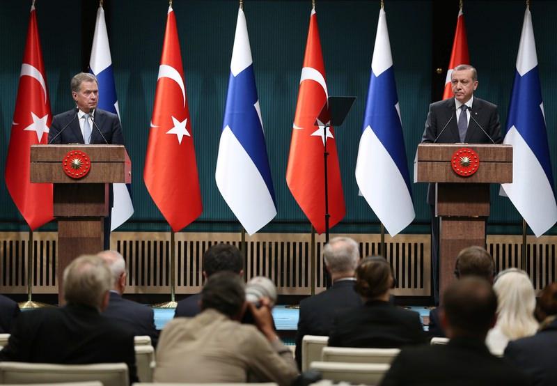 President Erdou011fan speaking in a press conference with Finnish President Sauli Niinistu00f6 in Ankara on Oct 13, 2015. (AA Photo)