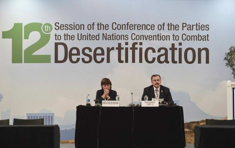 Veysel Erou011flu and Monique Barbout held a press conference ahead of the opening of the COP 12.