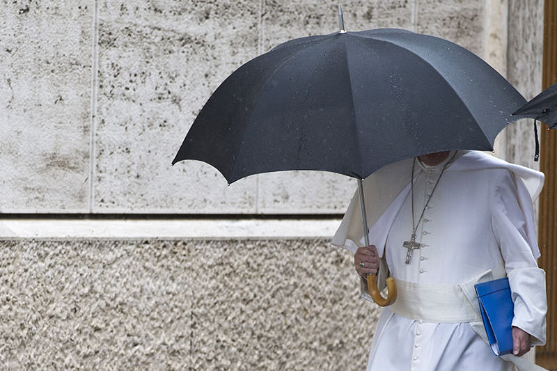 Pope Francis arrives for the afternoon session of the Synod of bishops, at the Vatican, Saturday, Oct. 10, 2015. (AP Photo)