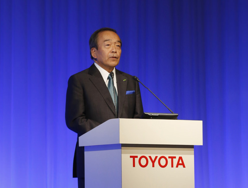 Toyota Motor Corp. Chairman Takeshi Uchiyamada speaking at the 2015 Toyota Environmental Forum in Tokyo on Wednesday.
